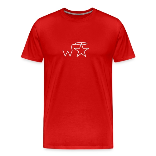 Men's Gildan White Logo S-2X Wranglerstar - Men's Premium T-Shirt