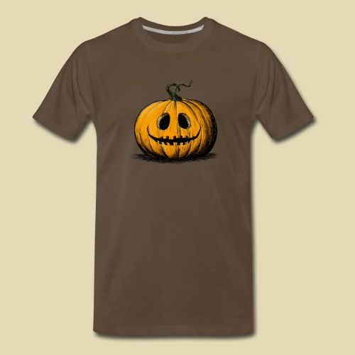 Happy Halloween Jack O'Lantern Adult Brown Tshirt - Men's Premium T-Shirt