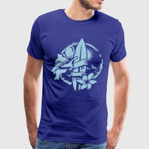 Surfboard with blossoms T-Shirts - Men's Premium T-Shirt