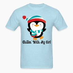 Couples Penguin Mens T-shirt (Chillin with my girl