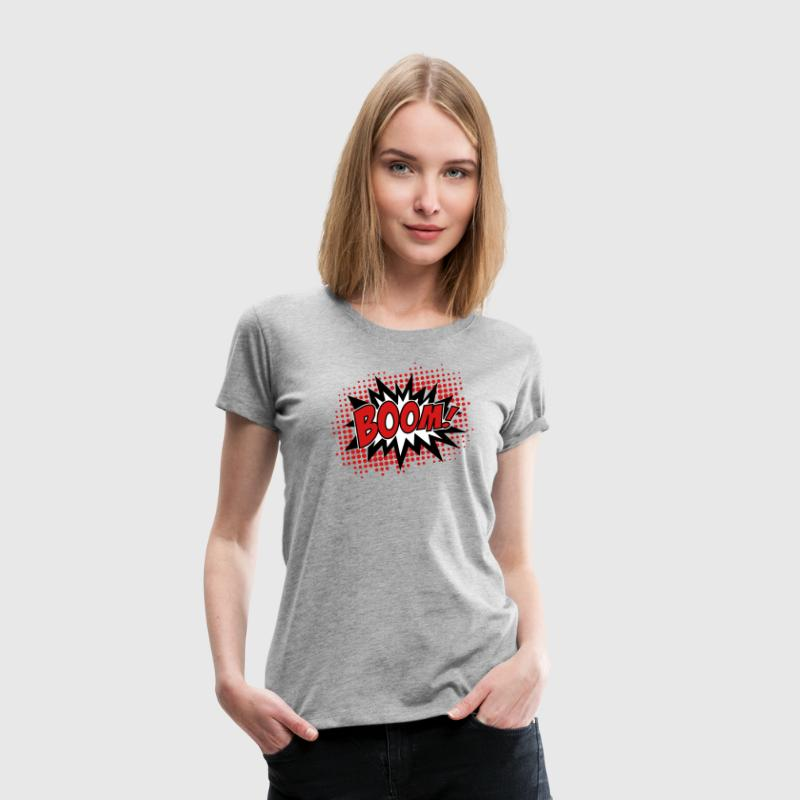 BOOM, comic, speech bubble, cartoon, balloon, dots Women's T-Shirts - Women's Premium T-Shirt