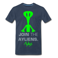 T-Shirts ~ Men's Premium T-Shirt ~ Join The Ayliens Tee (Neon Green/Silver)
