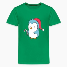 cute penguin with Christmas cap and candy cane Kids' Shirts