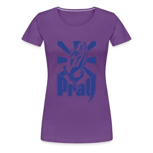 pray womens blue glitz on purple shirt - Women's Premium T-Shirt