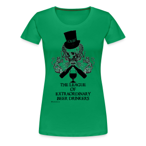 The League of Extraordinary Beer Drinkers Skull Top Hat Women's Premium T-Shirt - Women's Premium T-Shirt