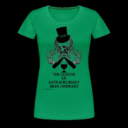 The League of Extraordinary Beer Drinkers Skull Top Hat Women's Premium T-Shirt - Women's Premium T-Shirt