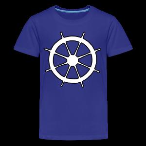 Steering Wheel T-Shirt (Blue) Kids Outline - Kids' Premium T-Shirt
