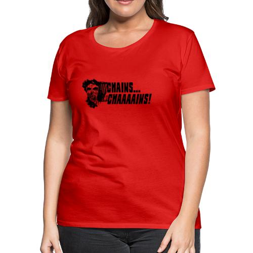 Chains.. CHAAAAAAINS! Zombie Disc Golfer Shirt - Black Print - Women's Fitted Tee - Choose a Color - Women's Premium T-Shirt