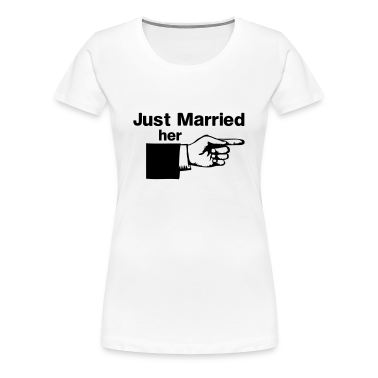 Just Married Her Pointing Finger Women's T-Shirts
