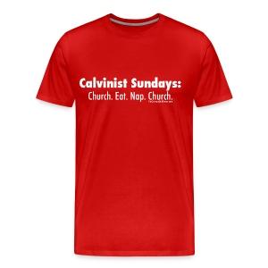 Calvinist Sundays (white lettering for darker shirts) - Men's Premium T-Shirt