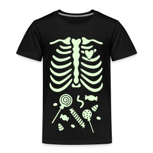 Skeleton X-ray Candy on Belly / GLOW - Toddler Premium T-Shirt