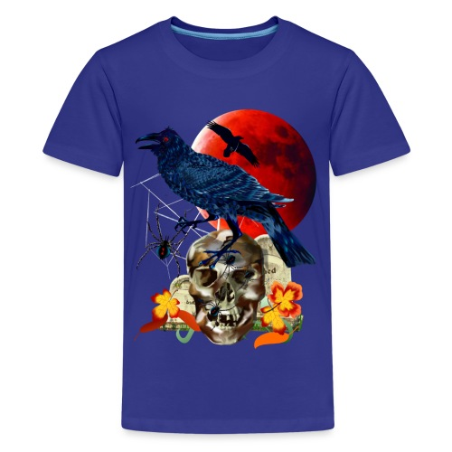 Black Raven-Red Moon  - Kids' Premium T-Shirt