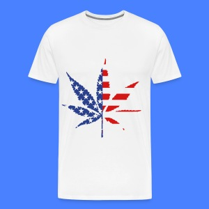 Marijuana Leaf American Flag T-Shirts - Men's Premium T-Shirt