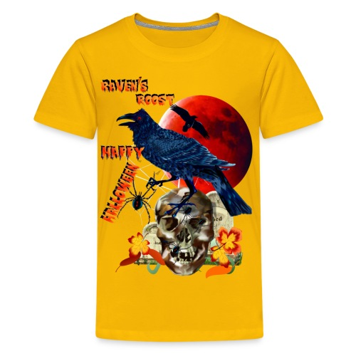 Raven and Red Moon-lettered - Kids' Premium T-Shirt