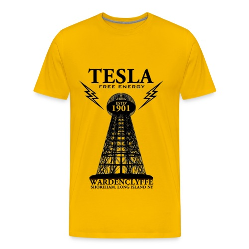 Tesla  - Yellow - Men's Premium T-Shirt