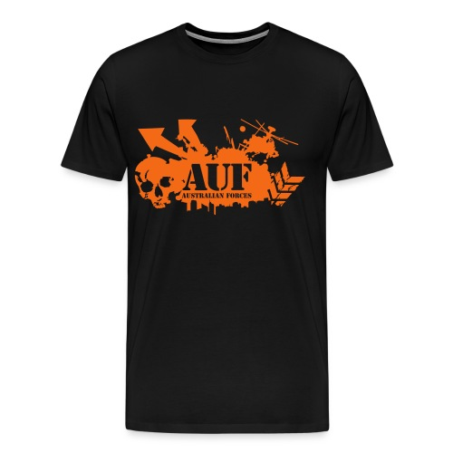 AUF Logo - Gildan Tshirt - lower back text box - 3XL and 4XL - Men's Premium T-Shirt