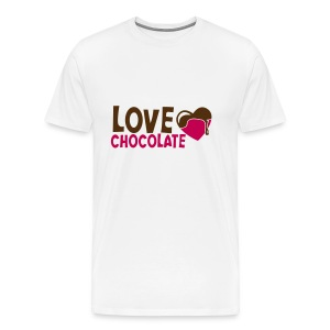 Men's Premium T-Shirt - Chocolate-Chick.Com is printed on the back of the tee.