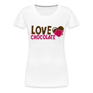 Women's Premium T-Shirt - Plus Size Women's Basic Tee.  Chocolate-Chick.Com is printed on the back of the tee.
