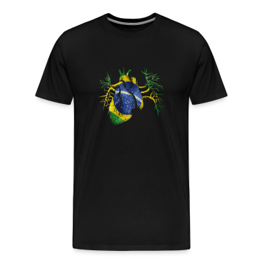 Brazil Flag in Real heart T-Shirts