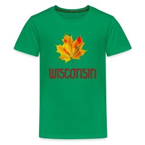 Autumn Wisconsin Leaf - Kids' Premium T-Shirt