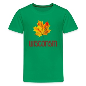 Autumn Wisconsin Leaf - Kids' Premium T-Shirt
