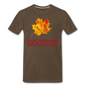 Autumn Wisconsin Leaf - Men's Premium T-Shirt