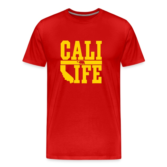 Yourdope Shop Cali Life Red And Gold T Shirts Mens Premium T Shirt