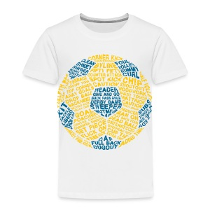 Soccer Ball Toddler T-Shirt, Typography Blue, Yellow - Toddler Premium T-Shirt