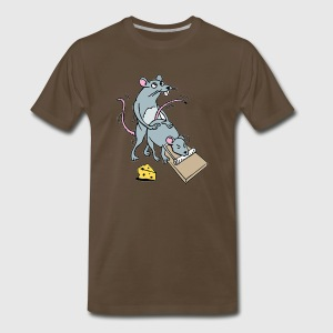 Mouse Screwing a Mouse in a Mousetrap  T-Shirts - Men's Premium T-Shirt