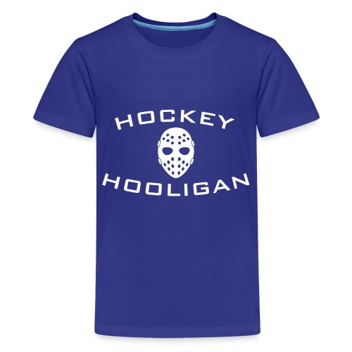 Hockey Hooligan Youth T-shirt - Blue with White Logo - Kids' Premium T-Shirt