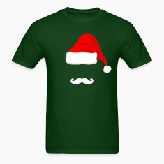 White Mustache and Santa Hat T-shirt