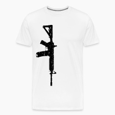 Men's White Wash Worn AR15 T-Shirt