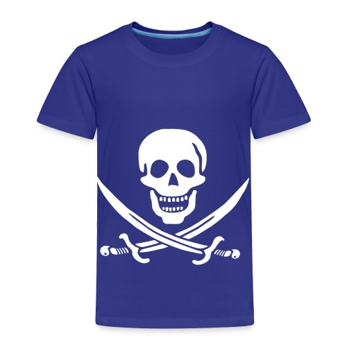 Jolly Roger Pirate Toddler Tee - Skull and Crossbones Pirate Design Logo - Toddler Premium T-Shirt