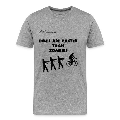 Cycling T Shirt - Bike's are Faster than Zombies - Men's Premium T-Shirt