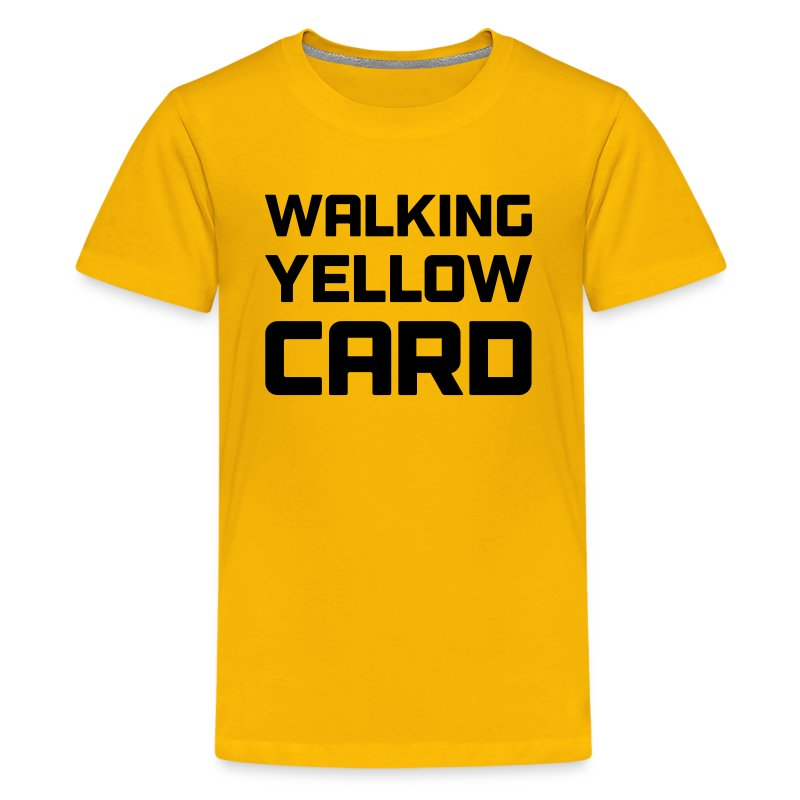 Walking yellow card youth tee t shirt spreadshirt for Yellow t shirt for kids