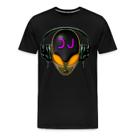 T-Shirts ~ Men's Premium T-Shirt ~ T-shirt - Alien Futuristic DJ with Headphones. Orange style.