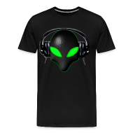 T-Shirts ~ Men's Premium T-Shirt ~ Alien Bug Face Green Eyes in DJ Headphones