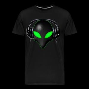 Alien Bug Face Green Eyes in DJ Headphones - Men's Premium T-Shirt