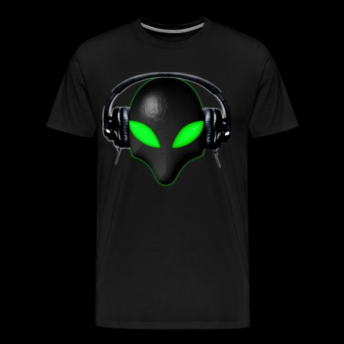 Alien Bug Face Green Eyes in DJ Headphones - Men's Premium T-Shirt
