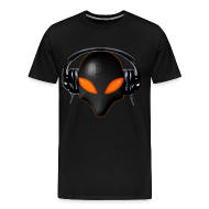 T-Shirts ~ Men's Premium T-Shirt ~ Alien Bug Face Orange Eyes in DJ Headphones