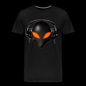 Alien Bug Face Orange Eyes in DJ Headphones - Men's Premium T-Shirt