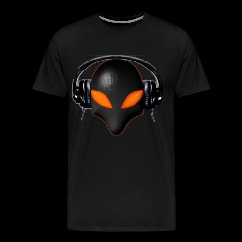Alien Bug Face Orange Eyes in DJ Headphones - Men's Premium T-Shirt