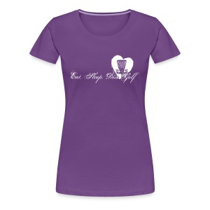Eat Sleep Disc Golf Women's Fitted Shirt - White Print - Women's Premium T-Shirt