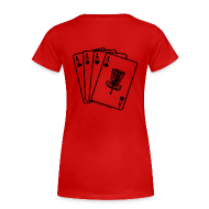 Women's T-Shirts ~ Women's Premium T-Shirt ~ Disc Golf Aces Playing Cards - Black Print on Back - Women's Fitted
