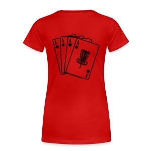 Disc Golf Aces Playing Cards - Black Print on Back - Women's Fitted  - Women's Premium T-Shirt