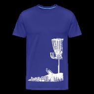 T-Shirts ~ Men's Premium T-Shirt ~ Snow Disc Golf Shirt - White Print - Men's Heavy Weight Shirt