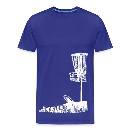 Snow Disc Golf Shirt - White Print - Men's Heavy Weight Shirt - Men's Premium T-Shirt