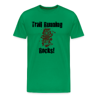 T-Shirts ~ Men's Premium T-Shirt ~ MENS RUNNING T SHIRT - TRAIL RUNNING ROCKS