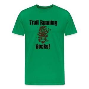 MENS RUNNING T SHIRT - TRAIL RUNNING ROCKS - Men's Premium T-Shirt