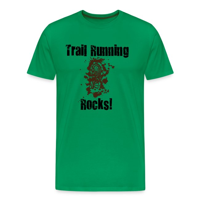 MENS RUNNING T SHIRT - TRAIL RUNNING ROCKS